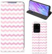 Samsung Galaxy S20 Ultra Hoesje met Magneet Waves Roze
