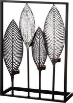 Waxinelichthouder metaal bladeren 50cm