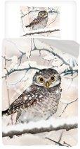 Snoozing Snowy Owl - Flanel - Dekbedovertrek - Eenpersoons - 140x200/220 cm + 1 kussensloop 60x70 cm - Sand