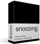 Snoozing - Katoen-satijn - Hoeslaken - Extra Hoog - Lits-jumeaux - 160x200 cm - Zwart