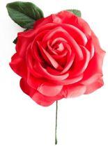 Spaanse flamenco roos - rood met steel - bij verkleedkleding