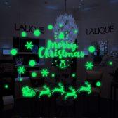 Glow in the Dark raam deur sticker Kerstman met slee - Kerstmis