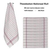 Theedoeken 999 National ruite rood-blauw | set van 24 Stuks | 65x65cm