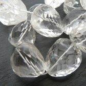 Natuurstenen kralen, Kristalkwarts, streng met XL facetgeslepen nuggets. Verkocht per streng van ca. 40cm.