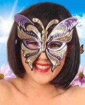 Oogmasker vynil vlinder met pailleten paars / goud