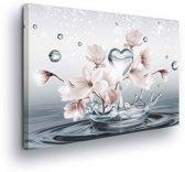 Pattern Floral Heart Drops Canvas Print 100cm x 75cm