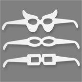 Brillen, h: 4,5-10 cm, l: 32 cm, wit, 16stuks, 230 gr