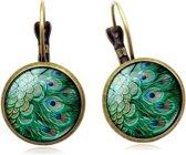 Betoverende oorbellen Pauwenveer | Mandala | Soulful | Oorhangers | Yoga hanger | Handgemaakte oorbellen | Spirituele sieraden | Karma symbols | Meditatie | Mala | Dames | Goudkleurig | Blauw | Verkrijgbaar in 5 kleuren | Semyco®
