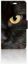 Huawei P9 Plus Uniek Hoesje Zwarte Kat met 3 Opbergvakjes