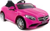 Mercedes Benz S63 AMG kinderauto roze 2.4G RC bediening soft start 12 volt rubberen banden LEDEREN zitting 1 persoons