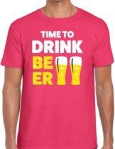 Time to drink Beer tekst t-shirt roze voor heren - heren feest t-shirts M