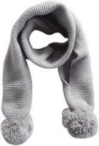 gebreide sjaal met pompons grijs
