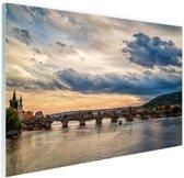 Karelsbrug Praag zonsondergang Glas 60x40 cm - Foto print op Glas (Plexiglas wanddecoratie)