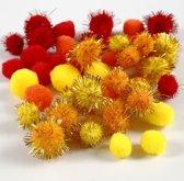 Pompoms, d: 15+20 mm, geel, oranje, rood, 48div