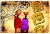 Schilderij - Afrika, Op weg naar de markt, 1 deel
