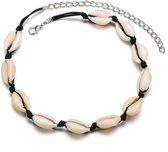 24/7 Jewelry Collection Schelpjes Ketting - Zwart - Schelp - Schelpen - Wit