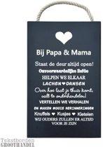 S155 Bij Papa en Mama Black steigerhouten tekstbord.