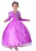 Prinsessenjurk paars maat 128/134 gratis staf en kroon (labelmaat 140)