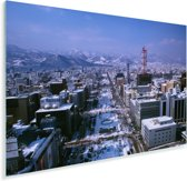 Luchtfoto van de stad Sapporo in Japan tijdens de winter Plexiglas 90x60 cm - Foto print op Glas (Plexiglas wanddecoratie)