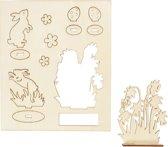 DIY Houten figuren, konijnen en bloemen, l: 20 cm, b: 17 cm, triplex, 1doos, dikte 3 mm