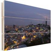 Donkere wolken boven Guayaquil in Ecuador Vurenhout met planken 90x60 cm - Foto print op Hout (Wanddecoratie)