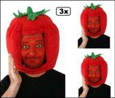 3x Funmuts aardbei one size