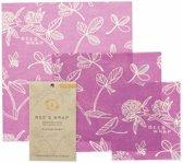 Bee's Wrap Mimi's Purple 3-pack combinatie (small/medium/large)