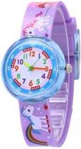 Unicorn / Eenhoorn - kinderhorloge/ peuter horloge - educatief horloge- meisjes - paars - 30 mm - I-deLuxe verpakking