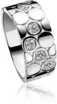 Zinzi - Zilveren Brede Ring - Zirkonia - Maat 56 ZIR872-56