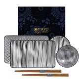 Tokyo Design Studio New Nippon Black Sushi Servies Set – 6-delig - in fraaie geschenkdoos