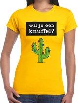 Wil je een knuffel tekst t-shirt geel dames - dames shirt Wil je een knuffel? L