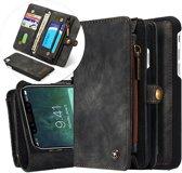 CASEME Apple iPhone X Luxe Lederen Portemonnee Hoesje - backcover zwart