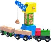 Woody houten kraan met trein en wagons