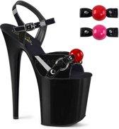 FLAMINGO-808MSLG (EU 38 = US 8) 8 Heel, 4 PF Ankle Strap Sandal w/ Mermaid Scales Design