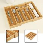 Uitschuifbare bestekbak voor keukenla – Bestek organizer van hoogwaardig bamboe hout – Bestekcassette uitschuifbaar van Decopatent®