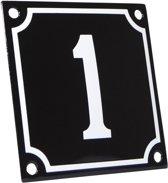 Emaille huisnummer zwart/wit nr. 1 10x10cm