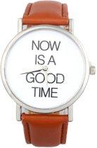 Hidzo Horloge Now Is A Good Time ø 37 mm - Bruin - Kunstleer
