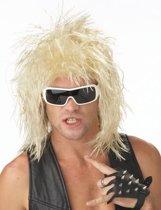 Blonde rocker pruik voor mannen - Verkleedpruik