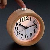 Houten wekker/Alarm /snooze/verlichting/ incl batterij