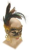 Oogmasker goud met kralen