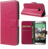 JavuCase - HTC One (M8) - Cabello Wallet Case Hoesje Roze