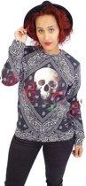 Breaking Rocks Bandana Roses Skull Trui - bedrukte sweater L