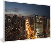 Foto in lijst - De stedelijke horizon van Fortaleza in Brazilië fotolijst wit 60x40 cm - Poster in lijst (Wanddecoratie woonkamer / slaapkamer)