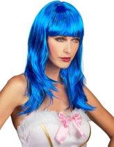 """""""Lange blauwe pruik voor vrouwen  - Verkleedpruik - One size"""""""