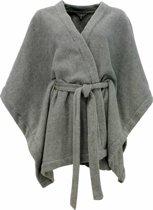 Trendy dames poncho in micro fleece. Grey Melange N7