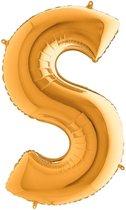 Folieballon letter S goud (100cm)