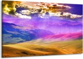 Canvas schilderij Bergen | Roze, Blauw, Oranje | 140x90cm 1Luik