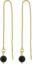 ARLIZI 1062 Doortrekoorbellen Parel - Dames - 925 Zilver Verguld - 6 cm - Zwart