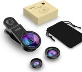 GETIHU - 3-in-1 Fish Eye 180° Lens - Zwart