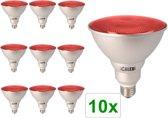 10 Stuks - Rood E27 20W 240V AC Calex Sealed Beam E-spaarlamp PAR38